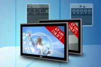 Flacher Widescreen Panel-PC und Industrie-Monitor mit Multitouch