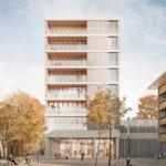 8-geschossiges Wohn- und Geschäftshaus in Holz (Freiburg im Breisgau) (Bildquelle: © Weissenrieder Architekten BD)